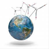 Wind turbine on Earth. 3d Source of map: http://visibleearth.nasa.gov/view.php?id=73801 NASA Terms of Use The imagery is free of licensing fees Source: http://visibleearth.nasa.gov/useterms.php