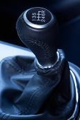 Close-up of a  six speed manual gear stick.