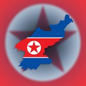 Map Of North Korea With Flag Inside