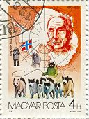 HUNGARY - CIRCA 1987: Postage stamps printed in Hungary dedicated to Roald Amundsen (1872-1928), Nor