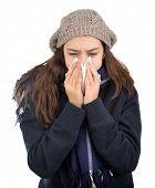 Teenager having flu or allergy isolated on white background