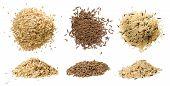 Closeups Of Oatmeal, Rice And Caraway