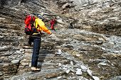 Alpinists climbing Eiger Peak, Berner Oberland, Switzerland - UNESCO Heritage