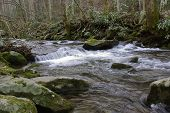 picture of gatlinburg  - Water flows from a mountain top in Gatlinburg Tenn - JPG