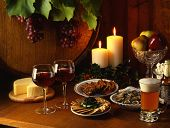 Christmas Appetizers Spread With Beer And Wine