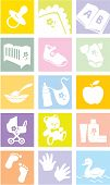 Icon Set - Baby goederen, Items. Illustratie