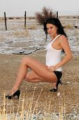 picture of wife-beater  - Beautiful brunette in the snow in a white wife beater and black panties - JPG