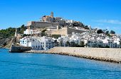 View of Sa Penya and Dalt Vila districts in Ibiza Town, Balearic Islands, Spain