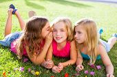 stock photo of little sister  - children friend girls group playing whispering on flowers grass in vacations - JPG