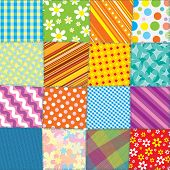 Quilt Patchwork Texture. Seamless Colorful Vector Pattern