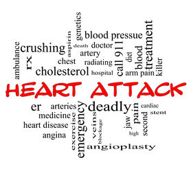 stock photo of stent  - Heart Attack Word Cloud Concept in red caps with great terms such as heart disease rx artery doctor and more - JPG