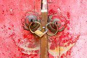 Red Old Door Knocker With Lock