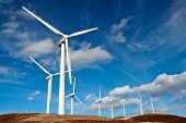 stock photo of wind energy  - wind turbines farm - JPG