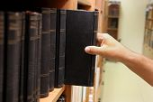 picture of librarian  - Persons hand removing an ancient book from a library shelf
