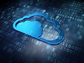 Cloud technology concept: Blue Cloud on digital background