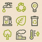 Ecology web icons set 1, vintage series