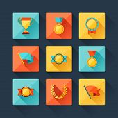 picture of trophy  - Trophy and awards icons set in flat design style - JPG