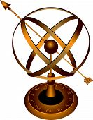 pic of spherical  - Metal spherical astrolabe used for basic navigation via the stars and sun - JPG