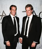 NEW YORK-SEP 28: Cameron (L) and Tyler Winklevoss attends the grand opening of TAO Downtown at the M
