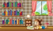 Illustration of a girl reading books near the window