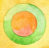 Abstract circle watercolor painting