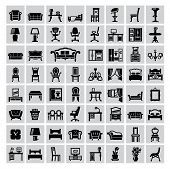 picture of house-plant  - vector black house furniture icon set on gray - JPG