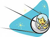 Sputnik Satelliten und Hund.