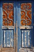 Wooden Door Vintage Metal Frame