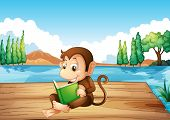 Illustration of a monkey reading a book sitting at the port