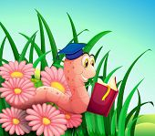 Illustration of an earthworm reading a book at the garden