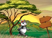 Illustration of a panda following the wooden arrowboard