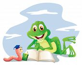 Illustration of an earthworm and a frog reading on a white background