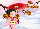 Illustration of a japanese wearing her yukata