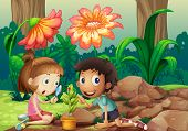 Illustration of a girl and a boy looking at the plant with a magnifying glass