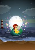 lllustration of a fairy riding on a boat at the beach