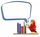 Illustration of a parrot reading a book with an empty callout on a white background
