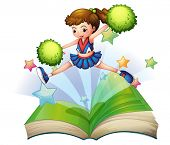 Illustration of a book with a cute cheerdancer jumping on a white background