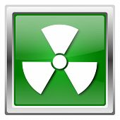 stock photo of radium  - Metallic icon with white design on green background - JPG