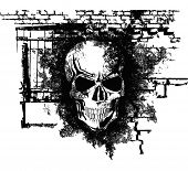 scary Halloween grunge skull with bricks