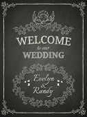 Wedding poster on black chalkboard