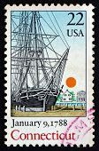 Postage Stamp Usa 1988 Connecticut, Ratification Of The Constitu