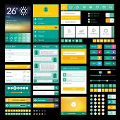 Flat icons and elements for mobile app and web design