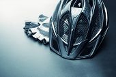 Helmet and gloves - bicycle accessories