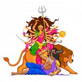 foto of navratri  - illustration of goddess Durga in Subho Bijoya  - JPG
