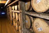 Bourbon Barrels Aging In Buffalo Trace Distillery.