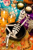 stock photo of day dead skull  - Traditional mexican Day of the dead altar with skeleton - JPG