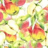 Seamless background with watercolor pears and apples