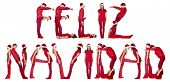 Red dressed humans forming the phrase 'FELIZ NAVIDAD' isolated on white