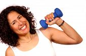 stock photo of lifting weight  - woman lifting weight - JPG