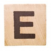 Block with Letter E isolated on white background